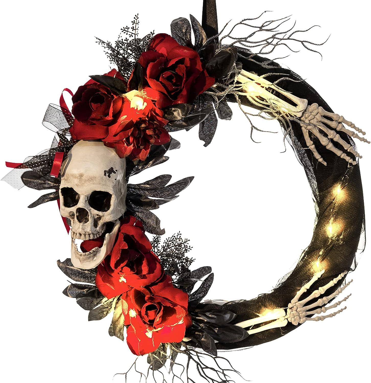 HOLLO STAR Halloween Decorations Light Up Skeleton Wreath, Artificial Rose Hanger Decoration, Black Garland Front Door, Holiday Prop Decor Indoor Outdoor