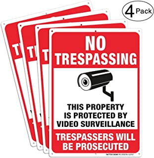 (4 Pack) Video Surveillance Signs, No Trespassing Violators Will Be Prosecuted Metal Reflective Warning Sign, 10 x 7 Inches0.40 Aluminum Indoor Or Outdoor Use for Home Business CCTV Security Camera