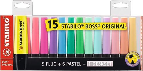 Surligneur - STABILO BOSS ORIGINAL - Set de bureau x 15 surligneur - fluo et pastel assortis