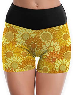 Women's Yoga Booty Shorts Sunflower High Waist Compression Tights Slim Fit Stretch Fitness