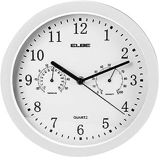 comprar comparacion Elbe RP-2005-B Reloj de pared con termómetro e higrómetro, mide temperatura y humedad, 25 cm diámetro, panel blanco marco ...