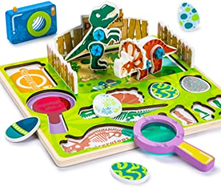 Cute Stone Wooden Dinosaur Puzzles for Toddlers 2.5 D Chunky Pegged Puzzles for Kids 3 Year Old & Up, Gift for Boys & Girls, Educational Toys with Kaleidoscope, Magnifier and Storage Bag
