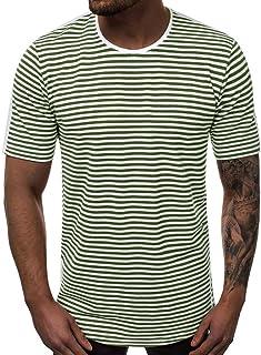 kolila Basic Striped T Shirt for Men Casual Crew Neck Cotton Vintage Couple Casual Stripes Top Tees Blouse Summer Beach
