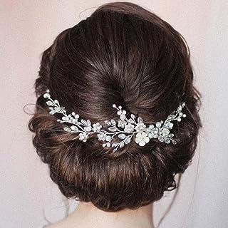 Handcess - Cerchietto per capelli da sposa in cristallo, con fiore in argento, con strass, accessorio per capelli da sposa...