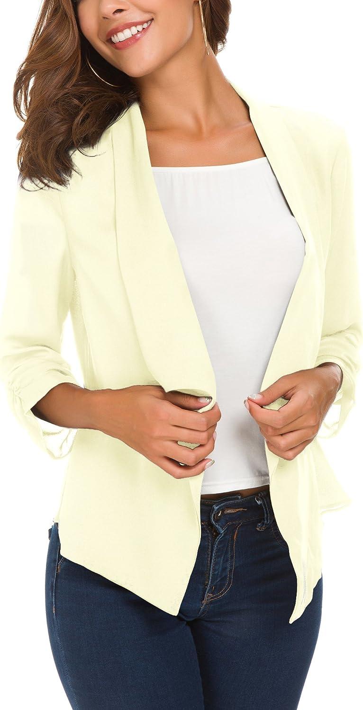 EXCHIC Damen Klappärmel Leichte Chiffon Cardigan Elegant Blazer Weiß