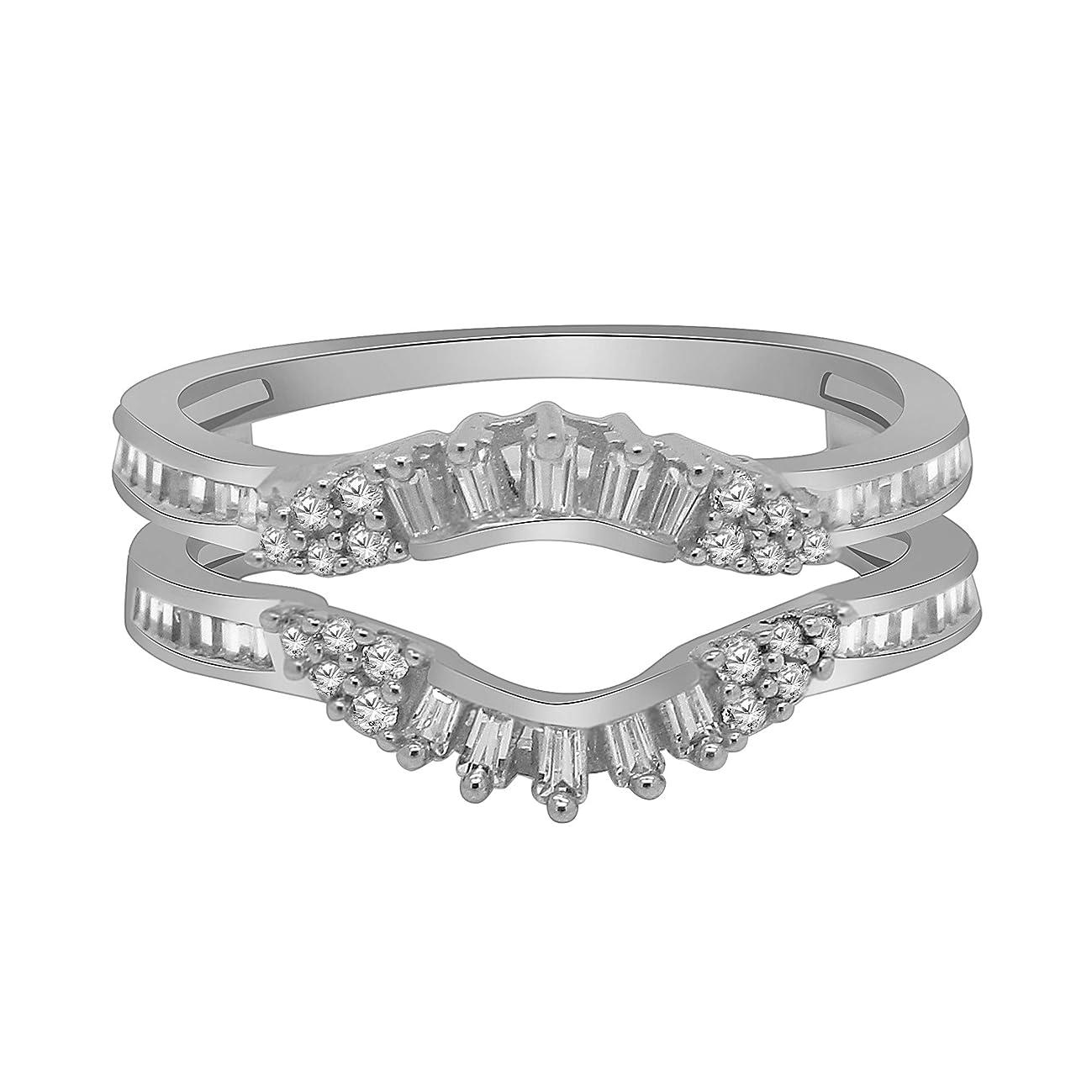 OMEGA JEWELLERY 0.34 Ct Round & Baguette Shape Natural Diamond 14K White Gold Enhancer Wrap Guard Ring Sz-7