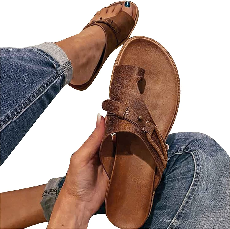 JPLZi Women's Orthopedic Leather Ring Toe Casual Bunion Slippers Summer Casual Beach Sandals Separate Flat Heel Flip Flops