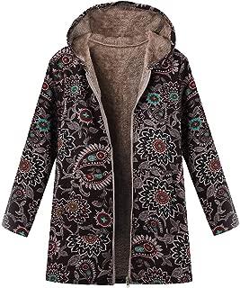 aihihe Plus Size Coats Jackets for Women Faux Fur Lining Coat Boho Floral Print Winter Warm Jacket Outwear