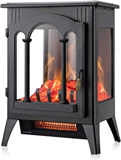 Xbeauty Electric Fireplace Stove, Freestanding Fireplace Heater with Realistic Flame, Indoor Electric Stove Heater, Portab...