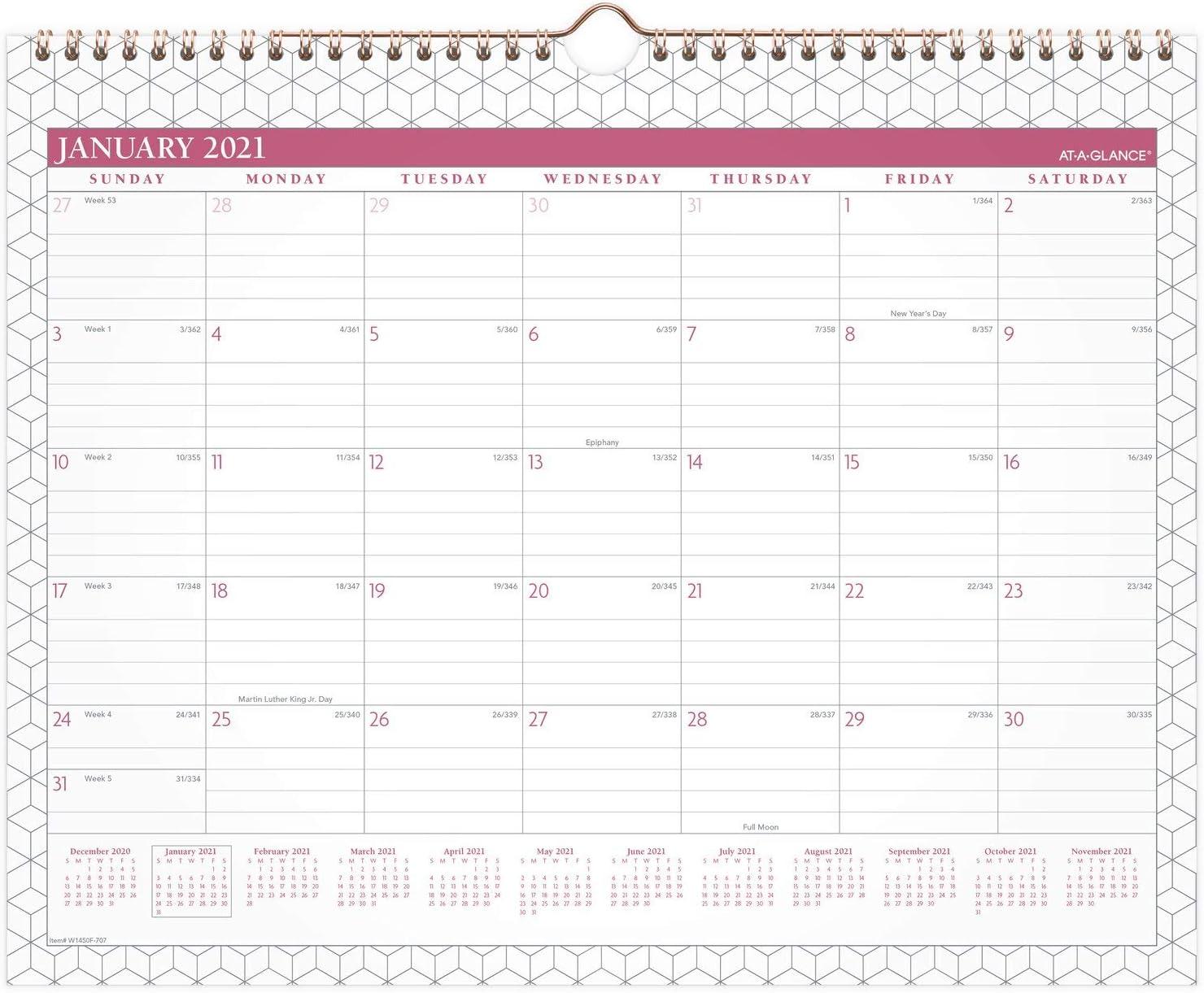 15 x 12 Medium BADGE Geo 2021 Wall Calendar by AT-A-GLANCE Wirebound Monthly W1450F-707-21