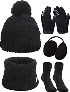5 Pieces Girl Winter Warm Knitted Hat Kids Toddler Cap Ear Muffs Gloves Socks