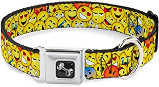 Dog Collar Seatbelt Buckle Emojis Stacked3 11 to 17 Inches 1.0 Inch Wide