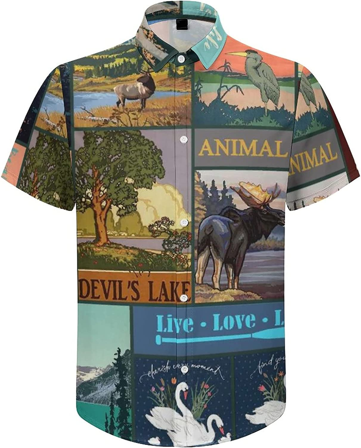 Men's Regular-Fit Short-Sleeve Printed Party Holiday Shirt Wildlife Mountain Nature