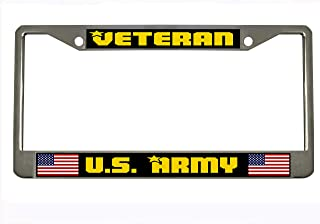 Veteran US Army Military License Plate Frame Holder Chrome