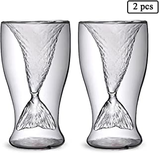 UPSTYLE Double Wall High Borosilicate Glass Mermaid Tail Glass Mug Beer Wine Mug Cocktail Glasses Cup Size 100ml, Pack of 2