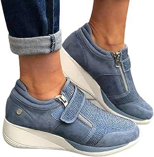 SHADIOA Printemps Chaussures compensées Femme Baskets à glissière Plate-Forme Formateurs Femmes Chaussures décontracté à L...