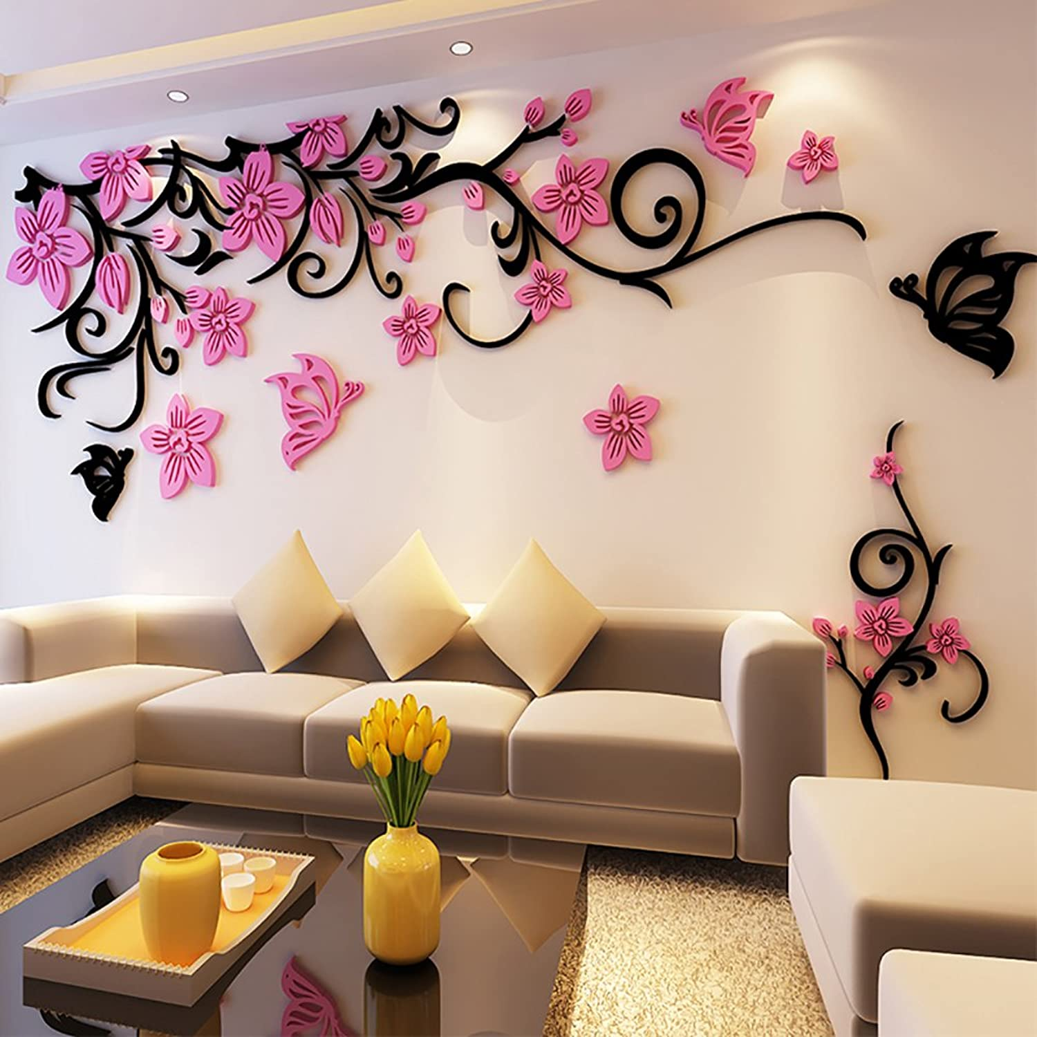 Tickos DIY Flower Wall Stickers 3D Acrylic wall decals Beautiful Murals (PinkL, L)