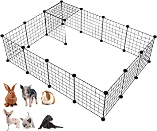 PATIOSNAP Pet Fence, 12 Pieces DIY Metal Wire Pet Playpen, Pet Carrier Play Yard Fence for Small Pets - Rabbit, Guinea Pig...