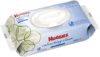 HUGGIES Refreshing Clean Scented Baby Wipes, Hypoallergenic, 1 Disposable Flip-top Pack (56 Total Wipes), Size 1