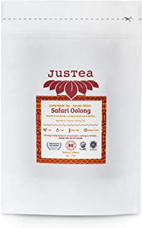 JusTea SAFARI OOLONG | Loose Leaf Oolong Tea in a Compostable Refill Pouch | 40+ Cups (2.8oz) | Low Caffeine | Award-Winni...