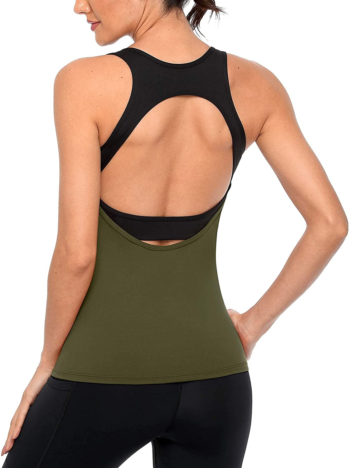 ATTRACO Open Back Workout Portland Mall Tank Max 42% OFF Top with in A for Women Bra Built