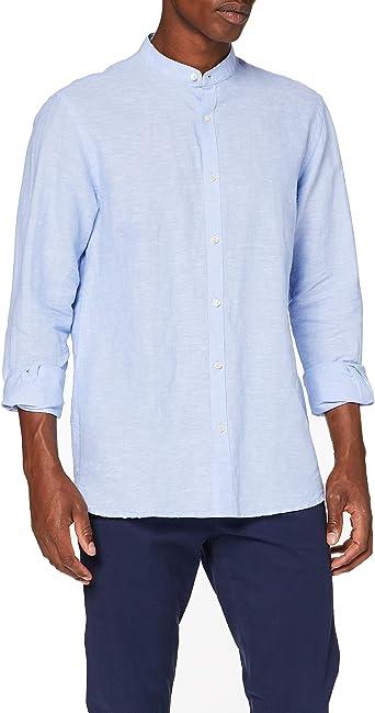 Cortefiel Lino Liso Mao Camisa Casual, Azul (Azul Medio 12 ...