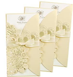 FEIYI 25 Pieces 4.4 x 8.4'' Laser Cut Hollow Rose with Ribbon Wedding Invitations Cards for Wedding, Baby Shower, Birthday Invite (Champagne Gold)