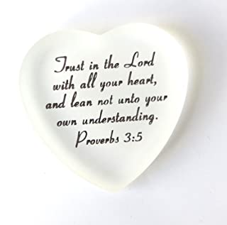 Lifeforce Glass Scripture Heart with Pouch, Trust in The Lord with All Your Heart, and Lean not Unto Your own Understanding. (White)