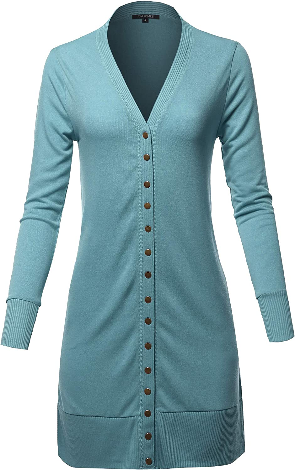 Awesome21 Women's Causal Snap Button Long Sleeves Everyday Long Cardigan