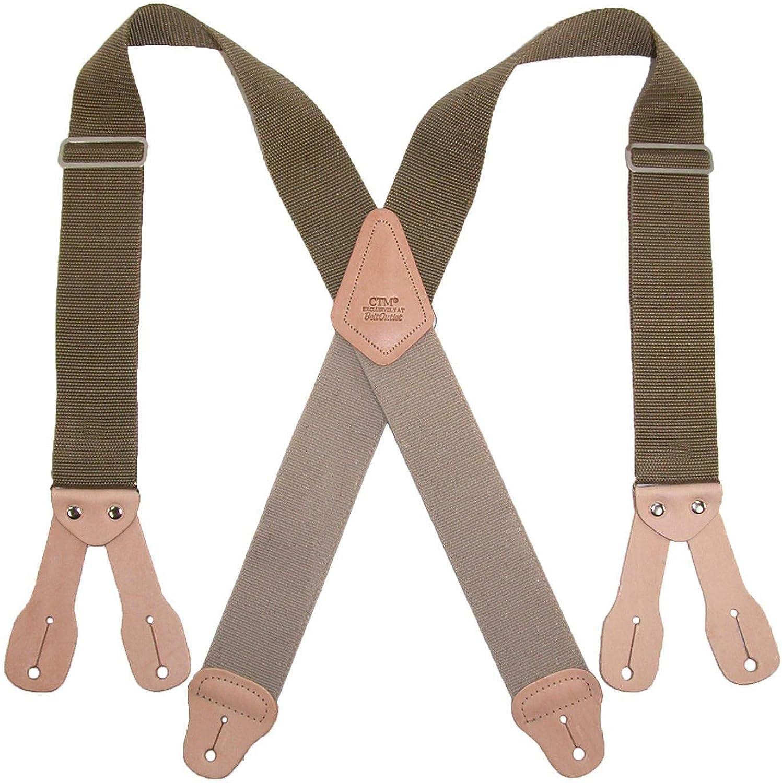 1 Pcs Men's 2 Inch Wide Non-Elasticized Construction Button-End Suspenders (Color Khaki)