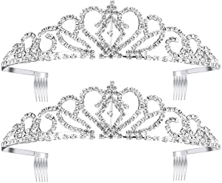 Paxuan Silver Gold Wedding Bridal Crystal Rhinestone Earrings Bracelet Jewelry Sets/Tiara Crown Princess Headband Headpiece for Women Girls Birthday Pageant Party Wedding Prom Bridal