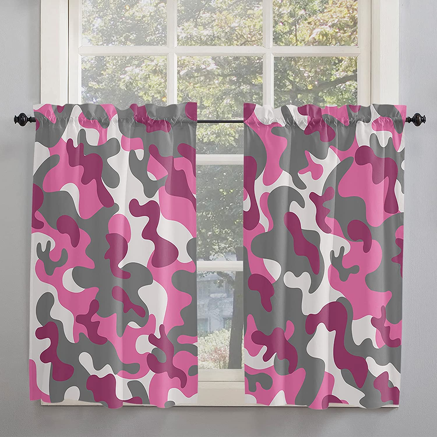 Pink Sale price Camouflage Kitchen Curtains 54 Mod Windows Inch service for Length