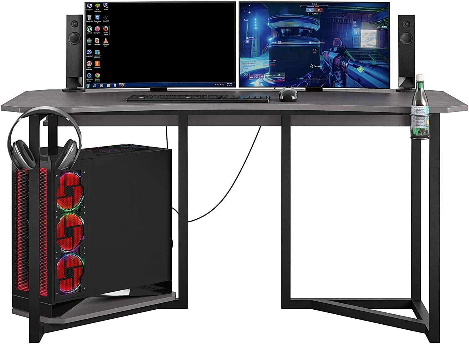 Cash special price NTENSE Bombing free shipping Quest Gaming CPU Gray Stand Desk