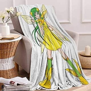 Betterull Anime Throw Blanket Fantasy Illustration of a Fairy Girl in a Yellow Dress Japanese Manga Velvet Plush Throw Blanket 60x36 Inch Yellow Lime Green Ivory