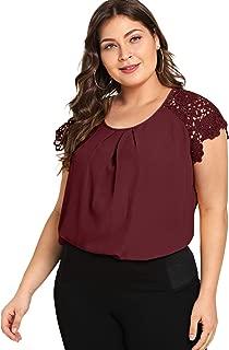 Women's Plus Size Short Sleeve Lace Hollow Round Neck Elegant Blouse