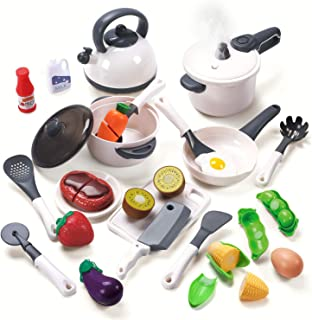 CUTE STONE Kids Kitchen Toys, Pretend Play Kitchen Toy Sets Includes Pressure Pot and Pans,Cutting Play Food and Cooking U...