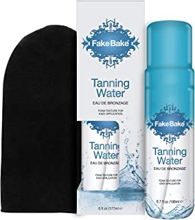 Fake Bake Tanning Water | Instant Hydration with Passion Flower | Natural Looking Sunkissed Golden Bronze Glow | Professional Mitt Included For Easy Application | 6.7 oz