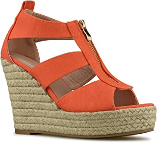 b6ee3148ffa0 Premier Standard - Women s Peep Toe Front Zipper Espadrille Wedge Sandals