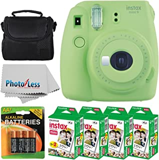fujifilm instax Mini 9 Instant Film Camera (Lime Green) + fujifilm instax Mini Twin Pack Instant Film (80 Shots) + Camera case + aa Batteries + Accessory Bundle - International Version (no Warranty)