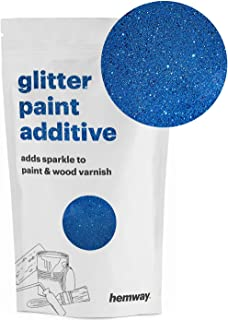 Hemway (Sapphire) Glitter Paint Additive Crystals 100g/3.5oz for Acrylic Latex Emulsion Paint - Interior Exterior Wall, Ceiling, Wood, Varnish, Dead flat, Matte, Gloss, Satin, Silk
