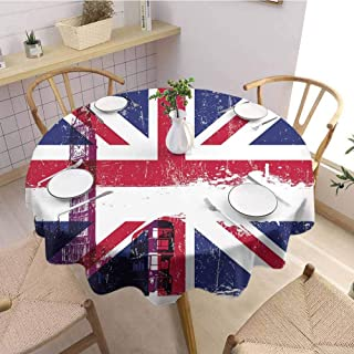 DILITECK Union Jack Indoor and Outdoor Polyester Round Tablecloth Grungy Aged UK Flag Big Ben Double Decker Country Culture Historical Landmark Round Table D36 Multicolor