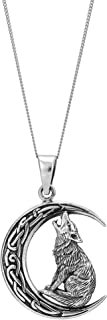 81stgeneration Women's Men's .925 Sterling Silver Howling Wolf Moon Celtic Pendant Necklace, 18