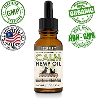 Hemp Oil for Dogs - 500mg - Anti Anxiety & Stress Reducer Plus Joint & Hip Pain Relief for Dogs and Cats - Bacon Flavored - Organic and 100% Natural - Vet Approved