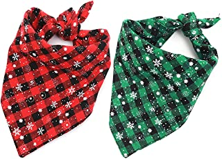 Malier 2 Pack Dog Bandana Christmas Classic Plaid Snowflake Pet Scarf Triangle Bibs Kerchief Set Pet Costume Accessories Decoration for Small Medium Large Dogs Cats Pets