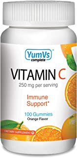 Vitamin C Gummies by YumV's | Daily Dietary Supplement for Adults and Kids, 250mg | Natural Orange Flavor Pectin Gummies, ...
