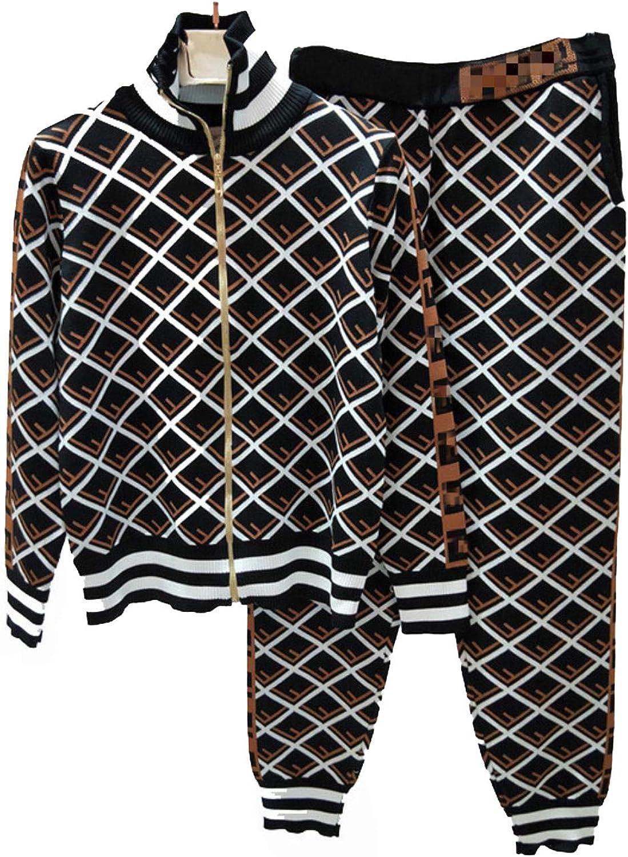 Women Knitted Sets Zipper Cardigan Jacket Long Pants Coat Sweaters Suits
