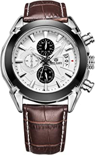 Meetloveyou Function Mens Watches Genuine Leather Luxury Mens Military Wristwatches Brown white