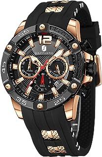Montre Homme SAPPHERO Mouvement à Quartz 3ATM Montre Homme Etanche Bracelet en Silicone Chronographe Multifonctionnel Spor...