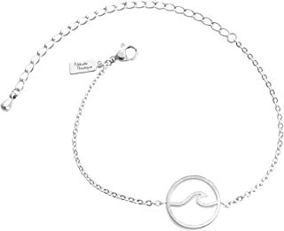 Altitude Boutique Simple Ocean Wave Bracelet Surfing Sea Surfer Hawaii Circle Beach Jewelry (Gold, Silver)