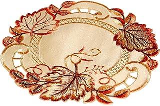 Tischdecke Tischdeckchen Deckchen Polyester Beige rosa Blumen rund 33cm